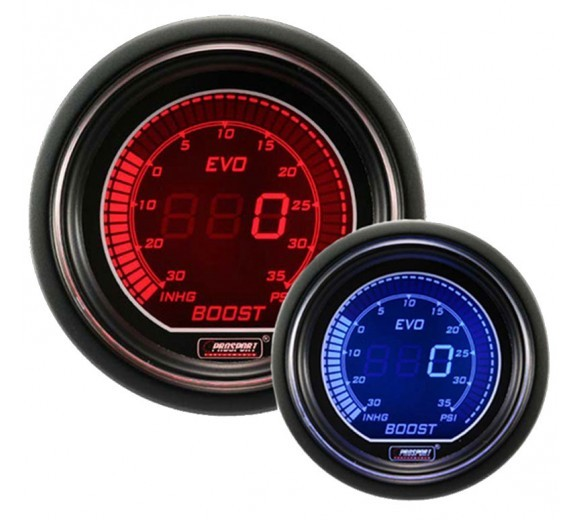 52mm Electrical 'Evo' Boost Gauge - Red/Blue