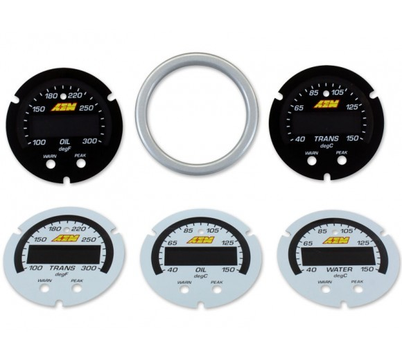 X-Series Temperature Gauge 100~300F / 40~150C Accesory Kit. Silver Bezel. Black Transmission & Oil Faceplates. White Water, Transmission & Oil Facepla