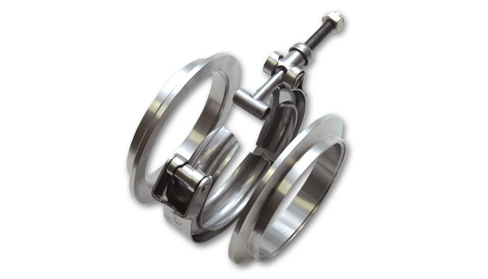 AL V-B Flange Assembly 2.5in OD Tubing incl 2 AL V-b flanges 1 SS V-B Clamp 1 Viton O-Ring