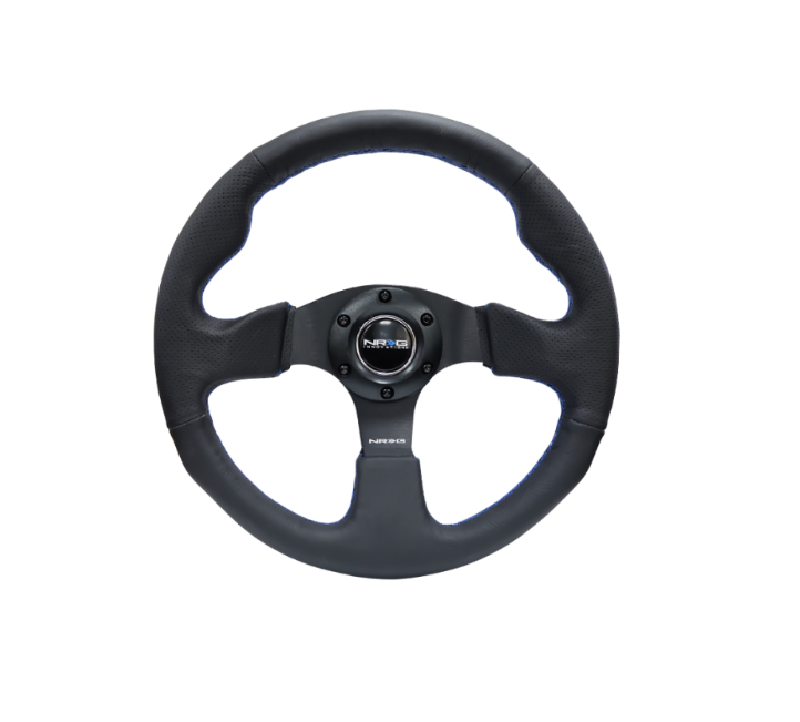 Reinforced Steering Wheel 320mm Black w/ Blue Stitch