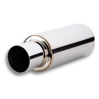 TPV Turbo Round Muffler (23in Long) with 4in Round Tip Straight Cut - 3in inlet I.D.
