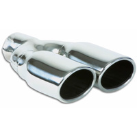 Dual 3.25in x 2.75in Oval SS Exhaust Tip (Single Wall Angle Cut Rolled Edge)