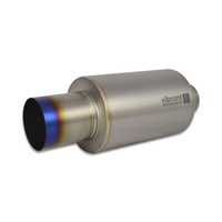 Titanium Muffler w/Straight Cut Burnt Tip 2.5in. Inlet / 2.5in. Outlet