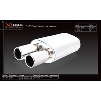 Universal Oval Muffler - 3in Inlet, Twin 3in Round Tip, Stainless Steel