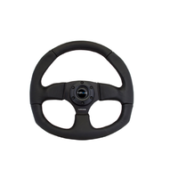 Reinforced Steering Wheel Flat Bottom Black