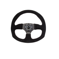 Reinforced Steering Wheel Flat Bottom Suede Black