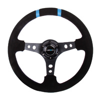 Reinforced Steering Wheel 350mm Suede 3in Black w/ Double Stripes