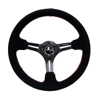 Reinforced Steering Wheel 350mm Suede 3in Deep Slotted Black w/Red Stitch