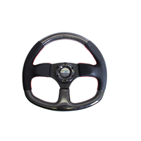Carbon Fiber Steering Wheel 320mm Flat Bottom w/Red Stitching